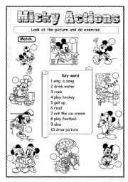 English Worksheets: Micky Actions