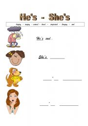 Grammar worksheets gt pronouns gt he she gt feelings with he and she