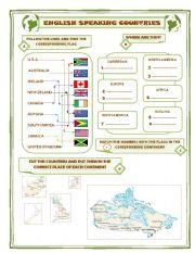English Worksheet: ENGLISH SPEAKING COUNTRIES 1/2