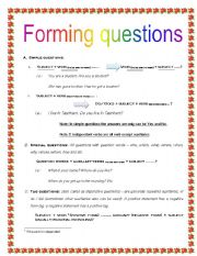 English Worksheets: Forming questions (detailed worksheet)