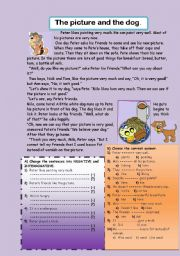 English Worksheets: Funny reading-comprehension. The picture and the dog.