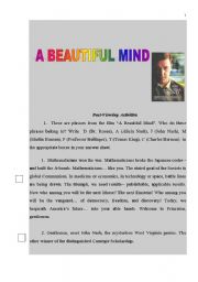 English Worksheet: A BEAUTIFUL MIND MOVIE WORKSHEET (PART 2). POST VIEWING ACTIVITY