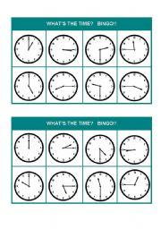 English Worksheet: What´s the time? Bingo! (Set 1 of 3)