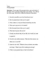 English Worksheets: Writing Samples