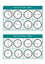 English worksheets: What?s the time? Bingo! (Set 2 of 3)