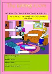 English Worksheet: The living room
