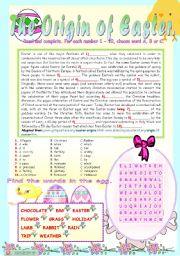 English Worksheets: THE ORIGIN OF EASTER.