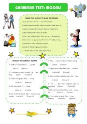 English Worksheet: GRAMMAR TEST: MODALS