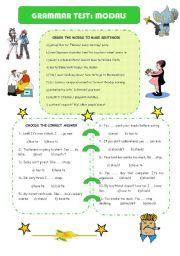 English Worksheet: GRAMMAR TEST: MODALS
