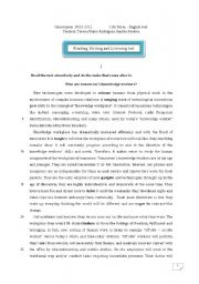 English Worksheet: Reading, writing and listening test