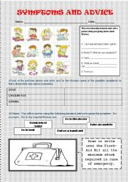 English Worksheet: SYMPTOMS, DISEASES AND ADVICE