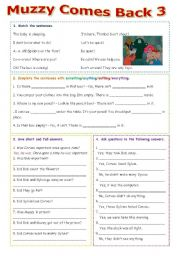 English Worksheet: Muzzy Comes Back 3 - editable