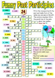 FUNNY PAST PARTICIPLES - COLOUR, BLACK AND WHITE VERSION AND ANSWER KEY