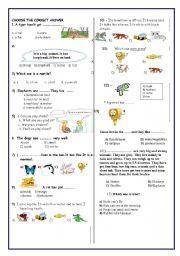 English Worksheets: Animals-test