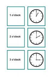English Worksheets: Time memory game  Part 1/2