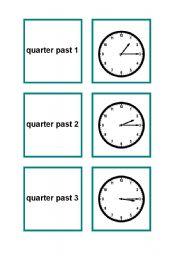 English Worksheets: Time memory game (part 2/2)