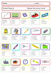English Worksheet: School objects quiz