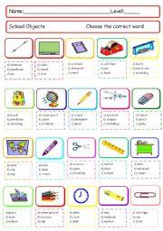 School objects quiz