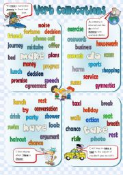 English Worksheet: VERB COLLOCATIONS - poster + exercises **3PAGES** (B&W +KEY included)