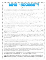 English Worksheet: Why Soccer (and not Football)? - Reading (2pg) & Vocab
