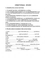 English Worksheet: Conditional sentences & wishes