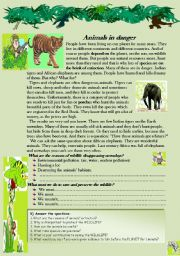 English Worksheet: Animals in danger. Reading-comprehension worksheet.