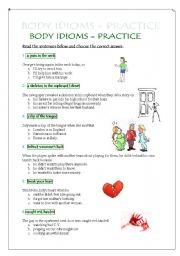 English worksheet: Body Idioms - practice