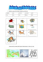 English Worksheets: Animals and their habitat