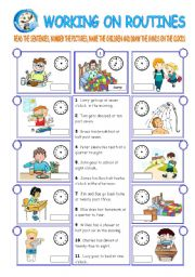 English Worksheets: DAILY ROUTINES (2 pages)