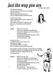 English Worksheet: song �Just the way you are� Bruno Mars 2 pages