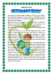 English Worksheet: EARTH DAY- READING COMPREHENSION