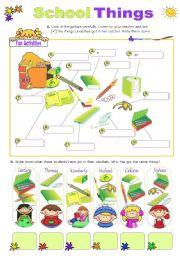 English Worksheet: School Things  -  Vocabulary exercises