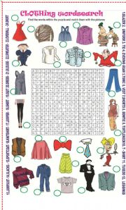 English Worksheet: Clothing wordsearch