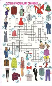 English Worksheet: Clothing Vocabulary crossword