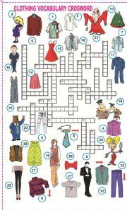 English Worksheets: Clothing Vocabulary crossword