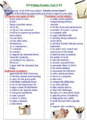 English Worksheets: Writing Practice for TOEFL / IELTS exams. Useful expressions and vocabulary. Part X.