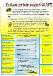 English Worksheets: What is your contibution to saving the WILDLIFE? Reading-comprehension worksheet.