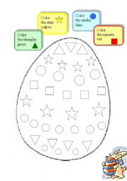 English Worksheet: Easter egg - colours and shapes