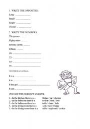 English worksheet: test (opposites; numbers 1-100; description of an animal; preposition- under, behind, on in; furniture)