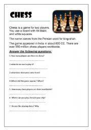 English Worksheet: Chess(Reading) AND my favourite sport(Writing)