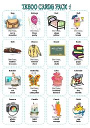English Worksheet: Taboo Cards Pack1 (32 cards)