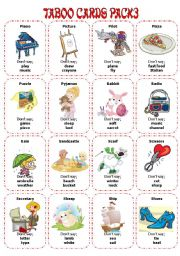 English Worksheet: Taboo Cards Pack3 (32 cards)