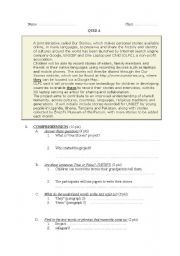 English Worksheets: 2 tests  in reading comprehension and language