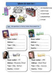 English Worksheets: Where do they live? (pairwork)