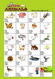 English Worksheet: FARM ANIMALS - Multiple choice test