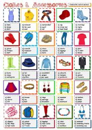 English Worksheet: Clothes & Accessories - multiple choice (B&W included)