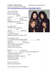 English Worksheets: I Want To Break Free  by Queen
