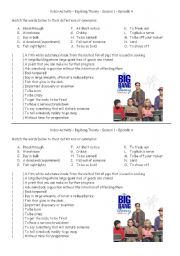 English Worksheet: Big Bang Theory - The Luminous Fish Effect