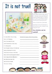 English Worksheets: IT IS NOT TRUE!