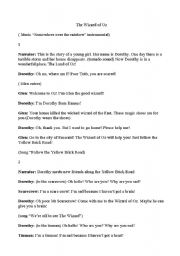 English Worksheet: �The wizard of Oz� Script for children